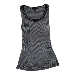 WHBM Beaded Ruched Striped Tank Top